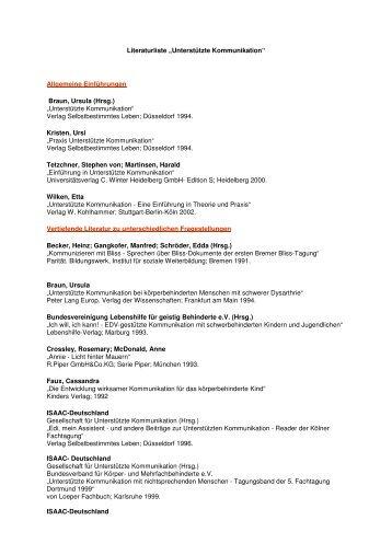 """Literaturliste """"Unterstützte Kommunikation"""" - Netzwerk Unterstützte ..."""