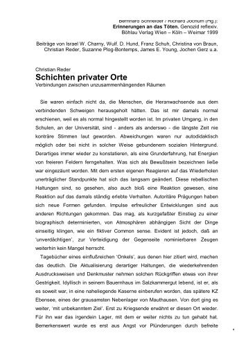 Schichten privater Orte - Christian Reder