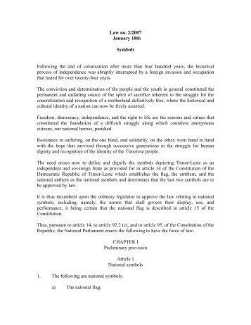 Law No - Secretaria de Estado da Arte e Cultura - Timor-Leste