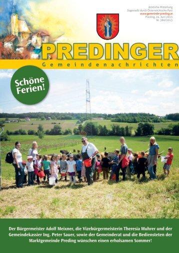 Gemeindenachrichten Nr. 380 - SOMMERAUSGABE - Preding