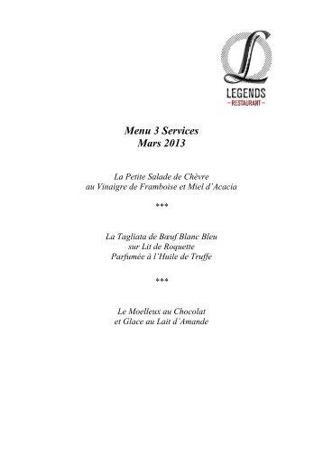 Menu 3 Services Mars 2013