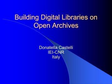 Digital Libraries services and Open Archives???? - Lekythos