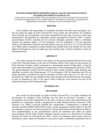 estudo geoquímico-isotópico nos granulitos e gnaisses de porto ...