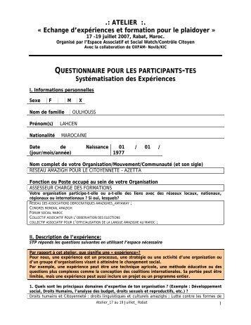 .: ATELIER :. « Echange d'expériences et formation ... - Social Watch