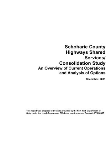 Highway Consolidation Study - Schoharie County