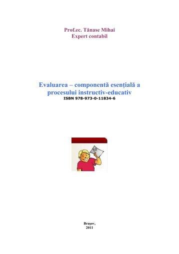 Evaluarea – componentă esenţială a procesului instructiv-educativ