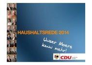 HAUSHALTSREDE 2014 - CDU - Fraktion Moers