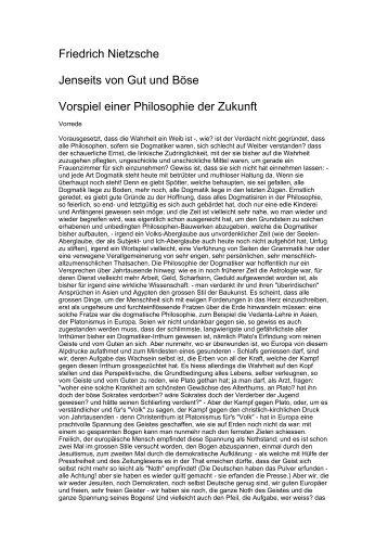 Friedrich Nietzsche Jenseits von Gut und Böse Vorspiel einer ...