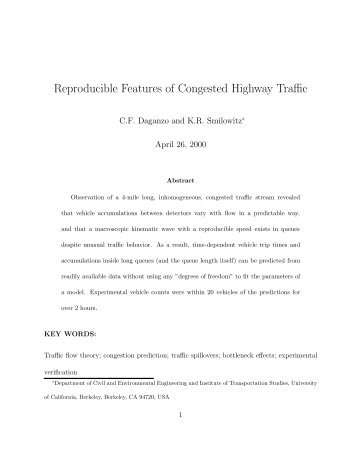 Reproducible Features of Congested Highway Traffic - Civil and ...