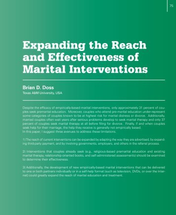 Expanding the Reach and Effectiveness of Marital Interventions
