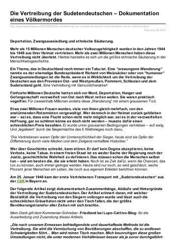 Die Vertreibung der Sudetendeutschen – Dokumentation eines ...