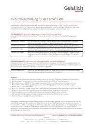 Klebstoffempfehlung für ACCOYA® Holz