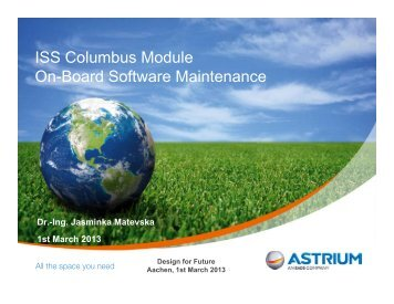 ISS Columbus Module On-Board Software Maintenance