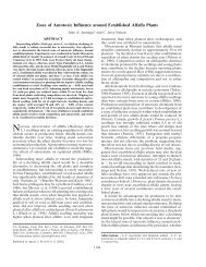 Zone of Autotoxic Influence around Established Alfalfa Plants