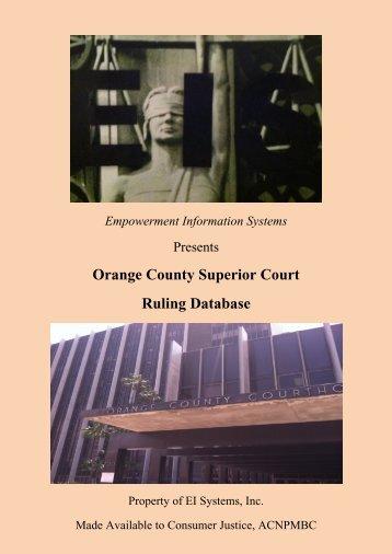 Orange County Superior Court Ruling Database - Consumer-justice ...