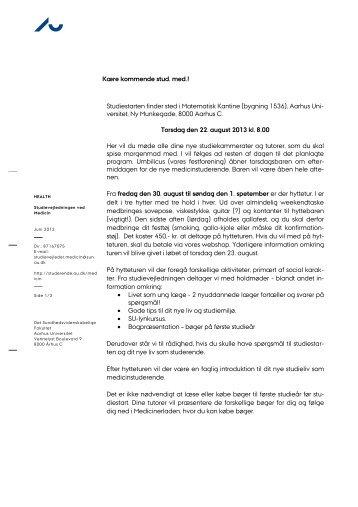 Kære kommende stud - For Studerende - Aarhus Universitet