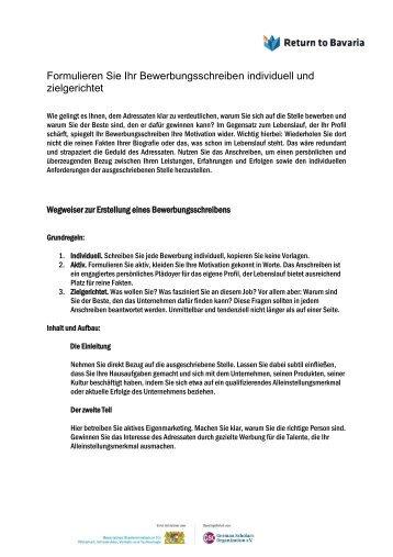 Tipps für Ihre Bewerbungsunterlagen Das Anschreiben - Stadtwerke ...