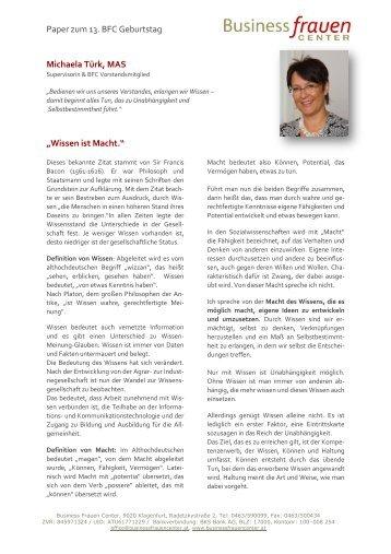 Wissen ist Macht. - Business frauen Center Kärnten