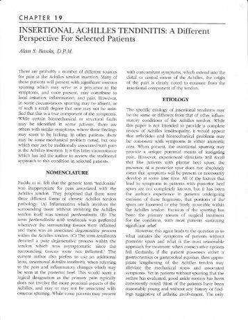 INSERTIONAL ACHILLES TENDINITIS - The Podiatry Institute