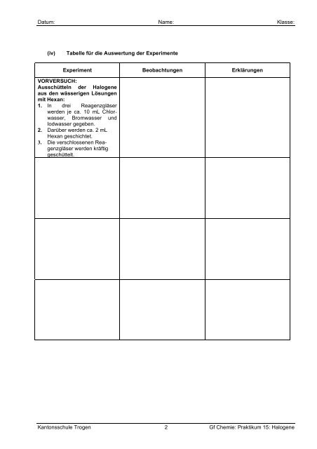Kantonsschule Trogen 1 Gf Chemie: Praktikum 15: Halogene ...