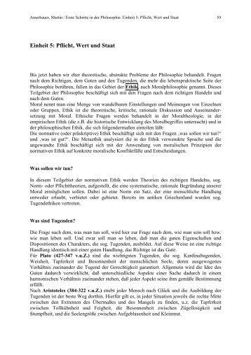 Einheit 5: Pflicht, Wert und Staat - amerbauer.info