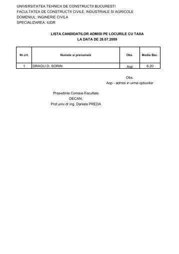 Lista candidatilor admisi la studii cu taxa – IUDR - Admitere UTCB