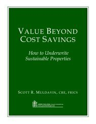 VALUE BEYOND COST SAVINGS - Sustainable Real Estate Solutions