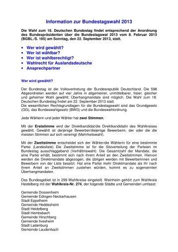 Information zur Bundestagswahl 2013 - Stadt Weinheim