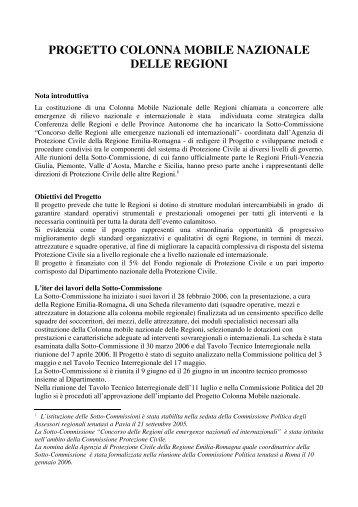 progetto colonna mobile nazionale delle regioni - Dipartimento della ...