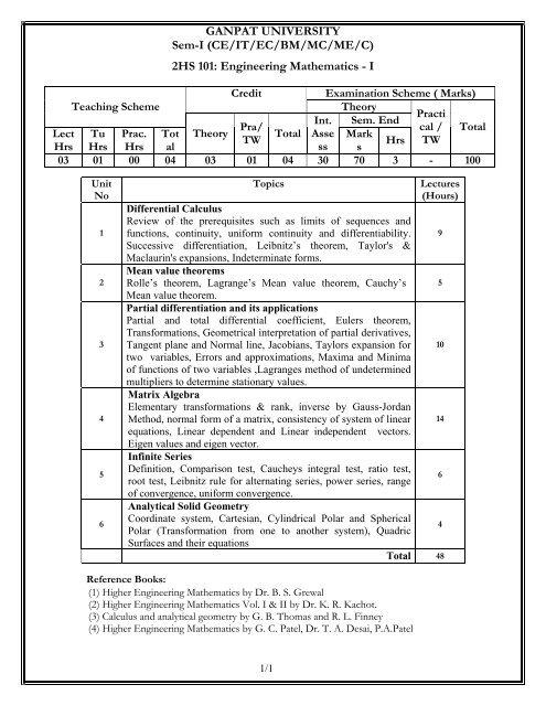 B Tech Mechanical Syllabus Sem I Vi Pdf Ganpat University