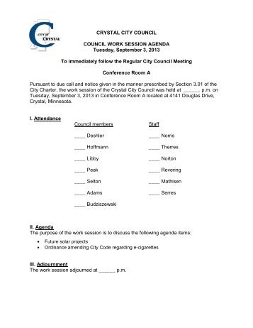CRYSTAL CITY COUNCIL COUNCIL WORK ... - City of Crystal