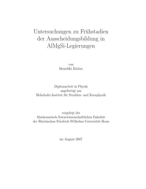Untersuchungen zu Frühstadien der Ausscheidungsbildung in ...