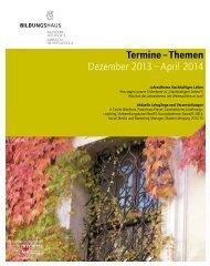 Termine – Themen Dezember 2013 – April 2014 - Kloster Neustift