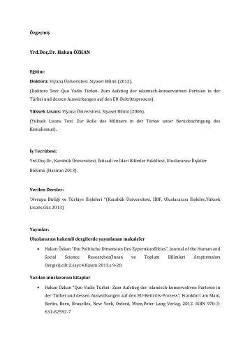 Yrd.Doç.Dr. Hakan ÖZKAN - İktisadi ve İdari Bilimler Fakültesi