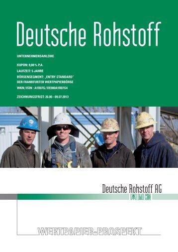 Wertpapierprospekt - Deutsche Rohstoff AG