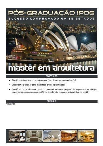 OBJETIVOS • Qualificar o Arquiteto e Urbanista para ... - CREA-SC