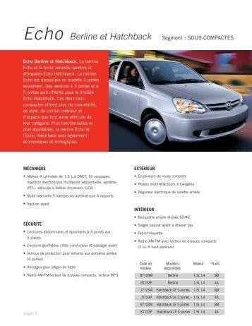 Echo Berline et Hatchback Segment : SOUS ... - Toyota Canada