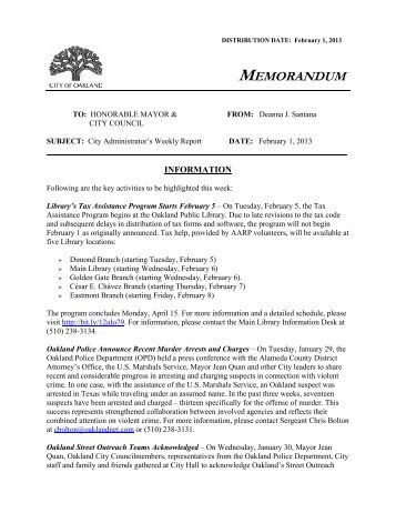 Weekly Report, February 1, 2013 - City of Oakland