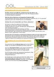 Informationen der ÖGL – Jänner 2009