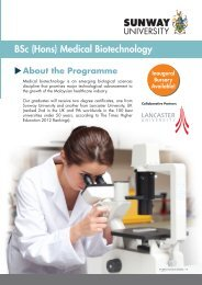 BSc (Hons) Medical Biotechnology - Sunway College