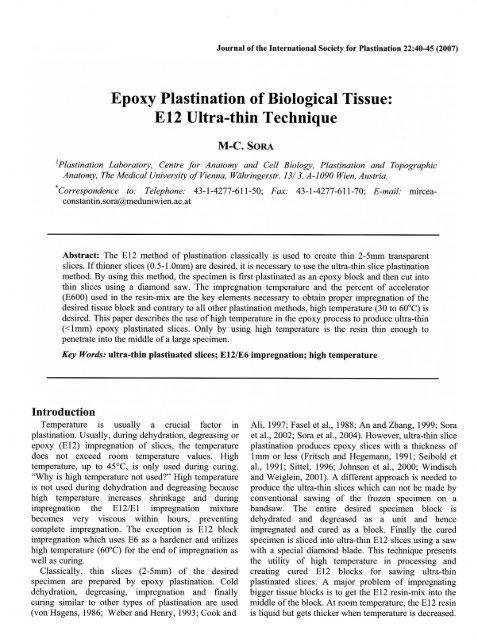 Epoxy Plastination of Biological Tissue: E12 Ultra-thin Technique