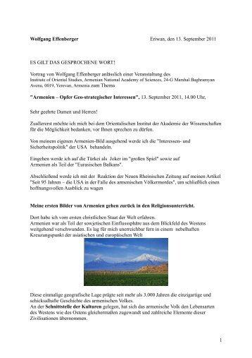 Wolfgang Effenberger Eriwan, den 13. September 2011 ES GILT ...