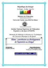 Contribution au développement de l'équitation au Sénégal - BEEP