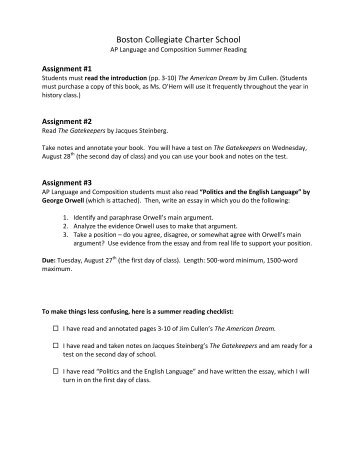 Essay Writing Examples English Politics And The English Language  Boston Collegiate Charter School Essays On English Language also Graduating High School Essay Work  Essays  Politics And The English Language  Bonus Manuals Essay On Health Awareness