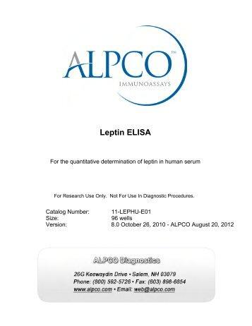 Leptin ELISA - ALPCO Diagnostics