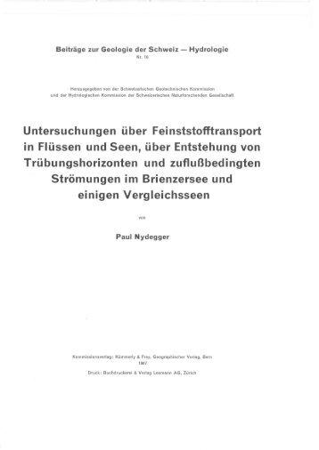 Untersuchungen über Feinststofftransport in Flüssen und Seen, über ...