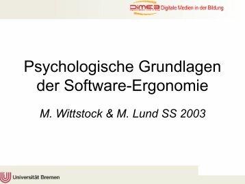 Psychologische Grundlagen der Software-Ergonomie - DiMeB