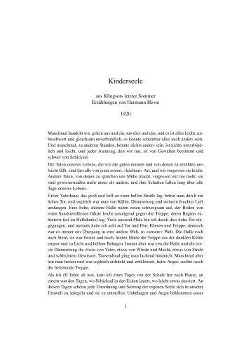 Hermann Hesse 1920 Kinderseele