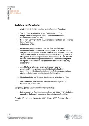 Gestaltung von Manuskripten 1. Als Standards für ... - UPV