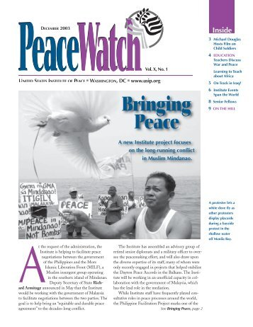 Peace Watch Newsletter December 2003 - United States Institute of ...